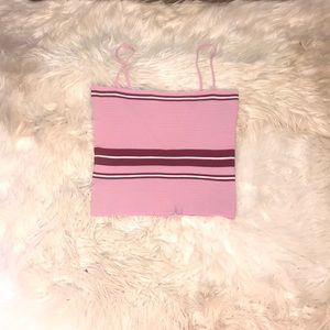 Lenore Mauve Pink Striped Ribbed Cropped Top